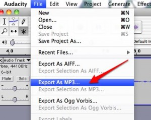 Save as Mp3 in Audacity