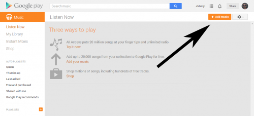 Muziek opslaan in de Google Music Cloud gaat via de knop 'add music'.