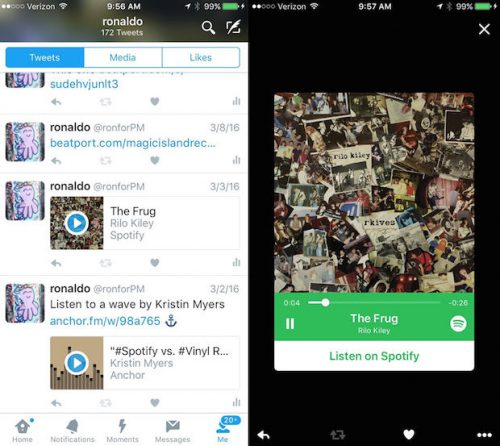 Twitter audio cards: muziek streamen van Spotify in Twitter.